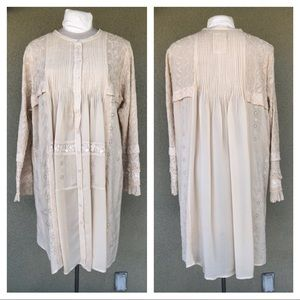 Johnny Was cream pleated tunic dress